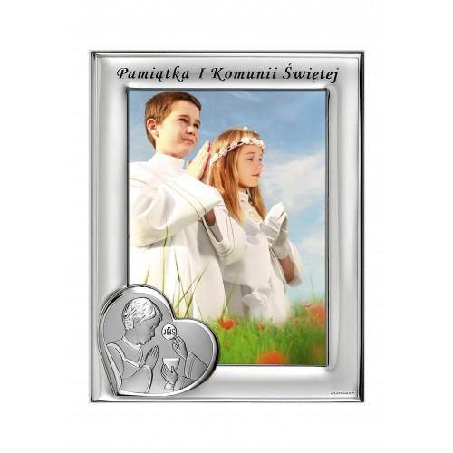 Ramka srebrna na zdjęcie formatu 13x18 Pamiątka Pierwszej Komunii Świętej 1165N/4LO