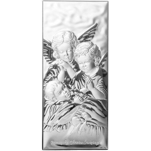 Obrazek srebrny Aniołki nad dzieciątkiem 400345