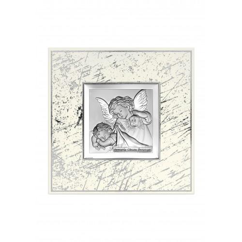 Obrazek srebrny Aniołek z latarenką nad dzieciątkiem - Pamiątka Chrztu Świętego 6430/3G