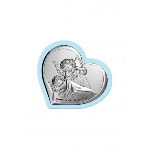 Obrazek srebrny Aniołek z latarenką nad dzieciątkiem - Pamiątka Chrztu Świętego 6449/1WC