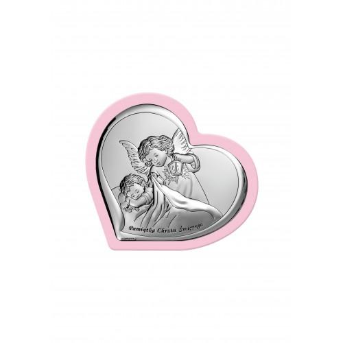 Obrazek srebrny Aniołek z latarenką nad dzieciątkiem - Pamiątka Chrztu Świętego 6449/1WR