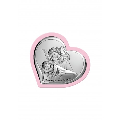 Obrazek srebrny Aniołek z latarenką nad dzieciątkiem - Pamiątka Chrztu Świętego 6449/3WR