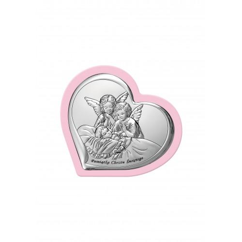 Obrazek srebrny Aniołki modlące się nad dzieciątkiem - Pamiątka Chrztu Świętego 6451/3WR