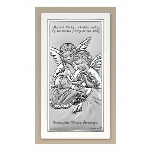 Obrazek srebrny Aniołki nad dzieciątkiem 6468S/2XTP