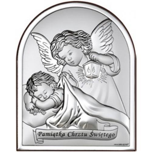 Obrazek srebrny  Aniołki nad dzieciątkiem 6470S/2X