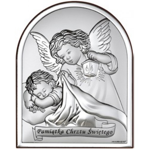 Obrazek srebrny  Aniołki nad dzieciątkiem 6470S/3