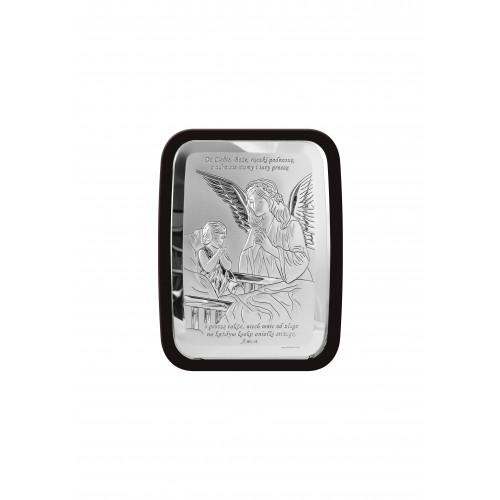 Obrazek srebrny Aniołka modlącego się nad dzieciątkiem 6508S/2XWM