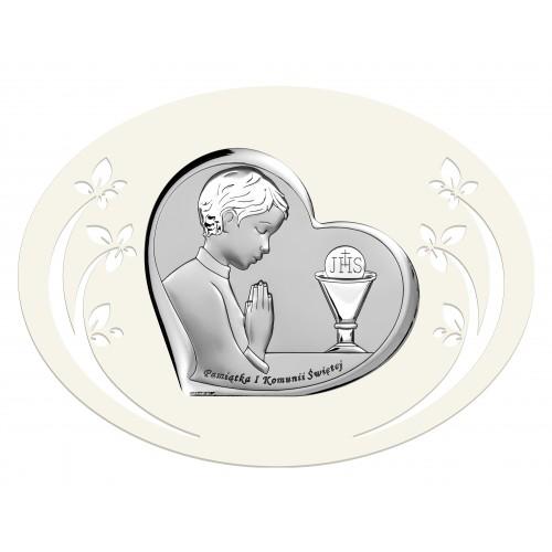 Obrazek srebrny Pamiątka Pierwszej Komunii Świętej 6518/3PO