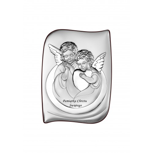 Obrazek srebrny Aniołki Z Sercem Pamiątka Chrztu Świętego 6519S/2X