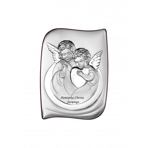 Obrazek srebrny Aniołki Z Sercem Pamiątka Chrztu Świętego 6519S/2