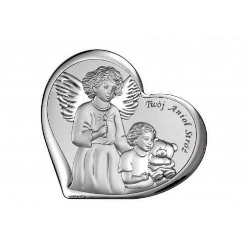 Obrazek srebrny Aniołek nad dzieciątkiem 6526/1