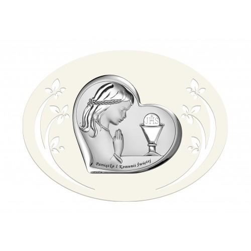Obrazek srebrny Pamiątka Pierwszej Komunii Świętej 6528/3PA