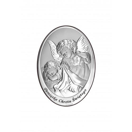 Obrazek srebrny Aniołek z latarenką nad dzieciątkiem 6561/1X