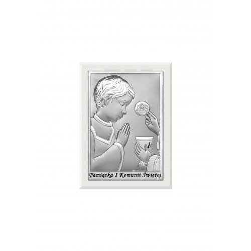 Obrazek srebrny Pamiątka Pierwszej Komunii Świętej 6570/2OW