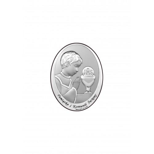 Obrazek srebrny Pamiątka Pierwszej Komunii Świętej 6571/1XO