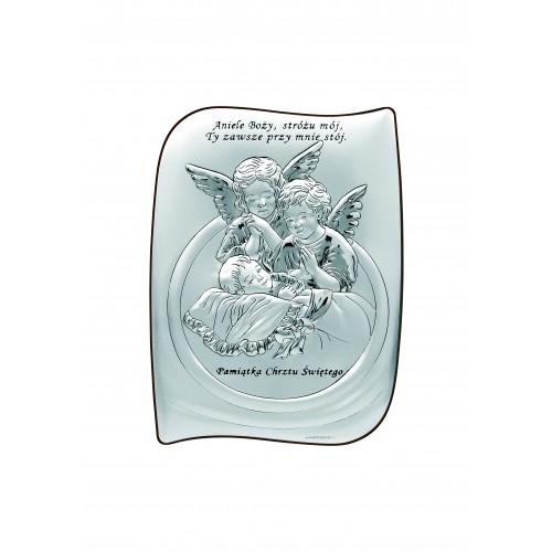 Obrazek srebrny Aniołki modlące się nad dzieciątkiem - Aniele Boży - Pamiątka Chrztu Świętego 6581S/2
