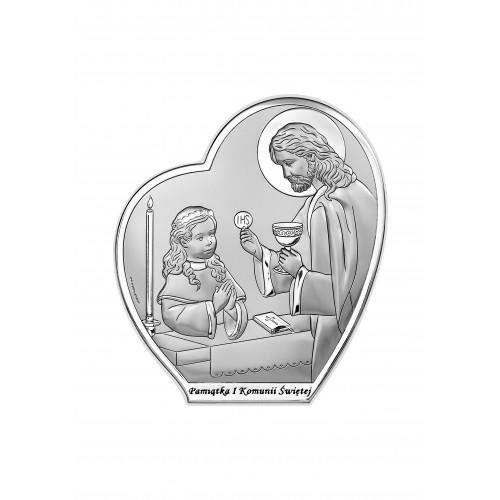 Obrazek srebrny Pamiątka Pierwszej Komunii Świętej 6593/3AB
