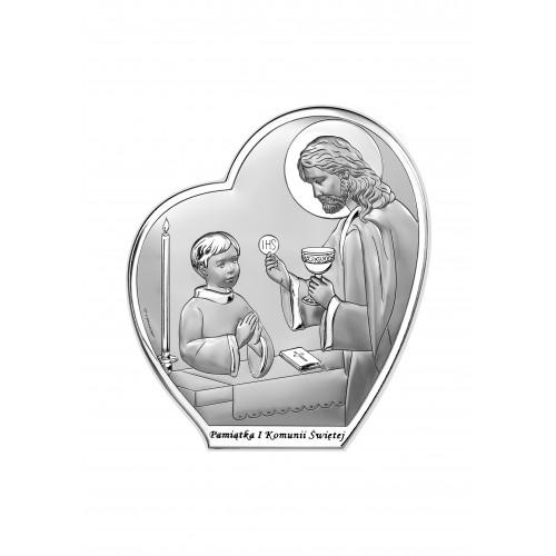 Obrazek srebrny Pamiątka Pierwszej Komunii Świętej 6593/3OB