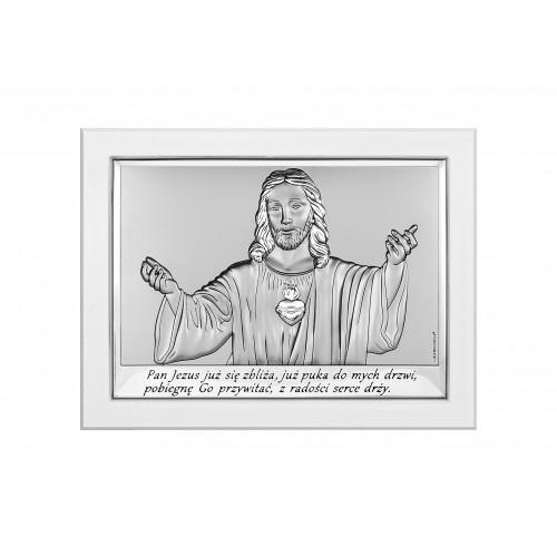 Obrazek srebrny z wizerunkiem Jezusa-Pamiątka Pierwszej Komunii Świętej 6621/3W