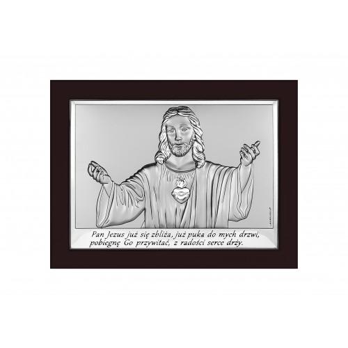 Obrazek srebrny z wizerunkiem Jezusa-Pamiątka Pierwszej Komunii Świętej 6621/3WM