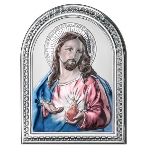 Obrazek srebrny Serce Jezusa 779/1COL