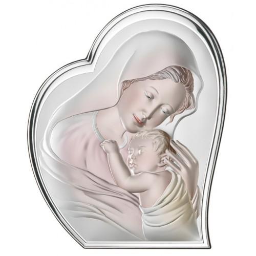 Obrazek srebrny Madonna z dzieciątkiem 81051/2COL