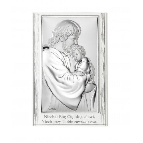 Obrazek srebrny Jezus Chrystus z Dzieciątkiem 81286/4PL