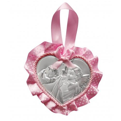 Obrazek srebrny grający Aniołek nad dzieciątkiem z latarenką 831463R