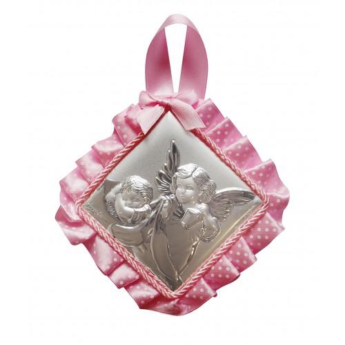 Obrazek srebrny grający Aniołek nad dzieciątkiem z latarenką 83683R