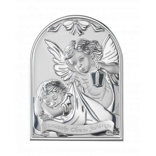 Obrazek srebrny  Aniołek z latarenką 95954
