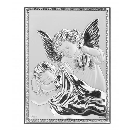 Obrazek srebrny Aniołek z latarenką nad dzieciątkiem 9720