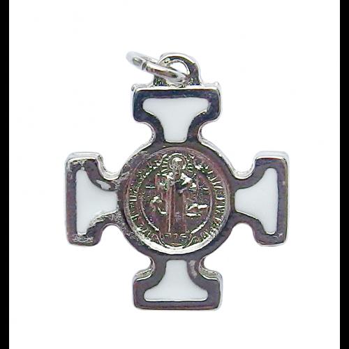 Krzyż Benedyktyński Metalowy Biały CN2115BI