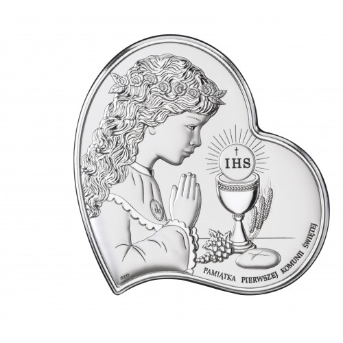 Obrazek srebrny Pamiątka Pierwszej Komunii Świętej DS03/2A