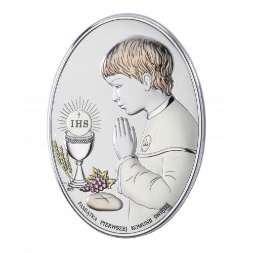 Obrazek srebrny Pamiątka Pierwszej Komunii Świętej DS05/3CO