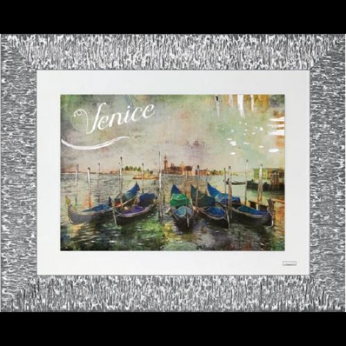 Ekskluzywny, duży obraz z posrebrzaną ramą WENECJA 5511/15, 80x65