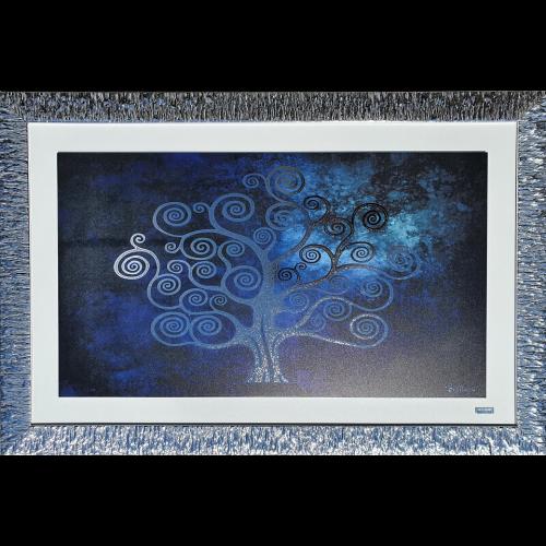 Ekskluzywny, duży obraz z posrebrzaną ramą DRZEWO 5511/16, 80x65