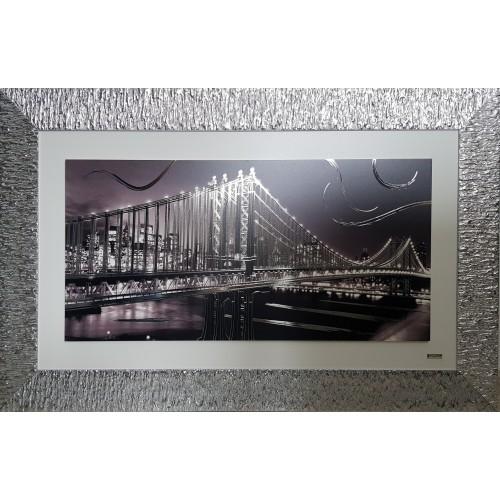 Ekskluzywny, duży obraz z posrebrzaną ramą Most Manhattan 5511/5, 104x65