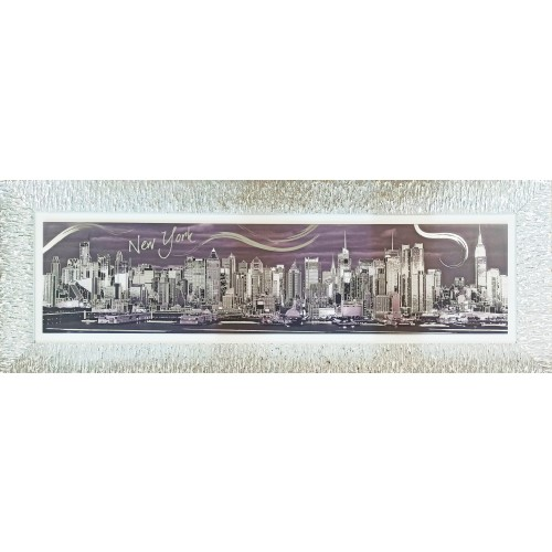 Ekskluzywny, duży obraz z posrebrzaną ramą NOWY JORK 5511/6, 125x46