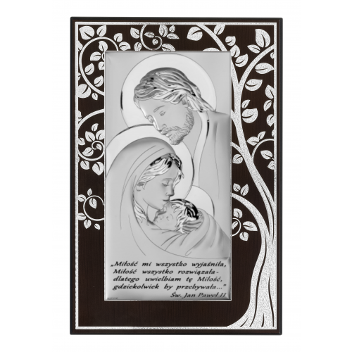 Obrazek srebrny Święta Rodzina - Drzewo Życia Z NAPISEM 6380SM/5A
