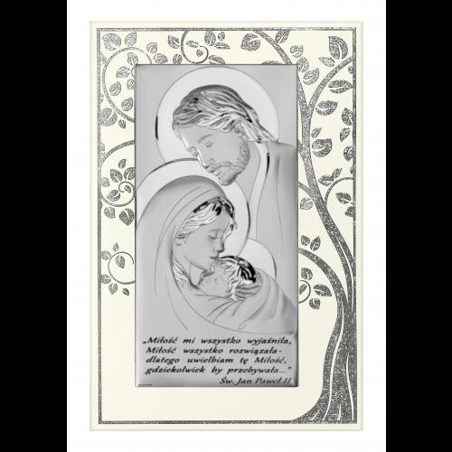 Obrazek srebrny Święta Rodzina - Drzewo Życia JASNY PANEL Z NAPISEM 6380SP/5A