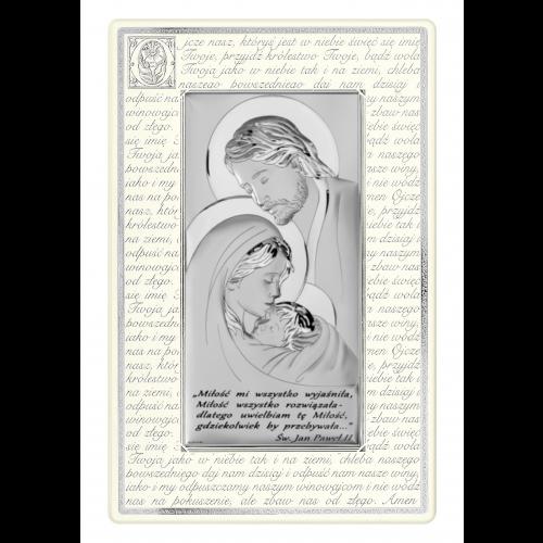 Obrazek srebrny Święta Rodzina - Ojcze Nasz Z NAPISEM  6380SP/5N