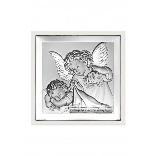 Obrazek srebrny  Aniołek z latarenką 6430/2W
