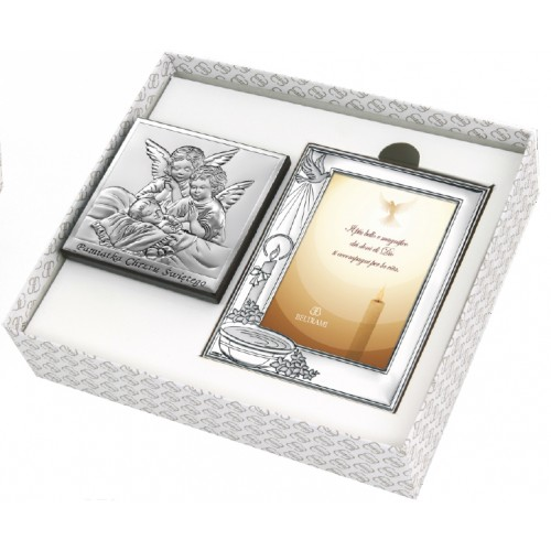 Zestaw obrazków srebrnych Pamiątka Chrztu Świętego 6438/SET3