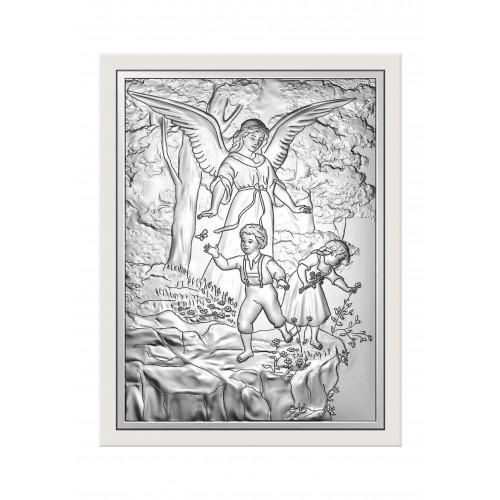 Obrazek srebrny  Anioł Stróż nad przepaścią 6446/5W