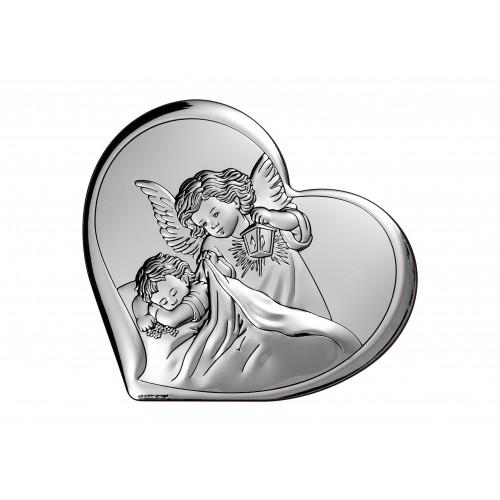 Obrazek srebrny  Aniołek z latarenką 6448/3, 16x14