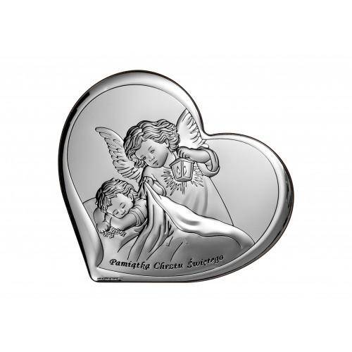 Obrazek srebrny  Aniołek z latarenką 6449/3, 16x14