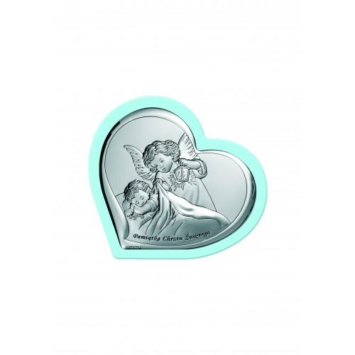 Obrazek srebrny Aniołek z latarenką nad dzieciątkiem - Pamiątka Chrztu Świętego 6449/2WC