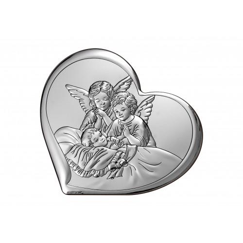 Obrazek srebrny  Aniołki nad dzieciątkiem 6450/2, 12x10