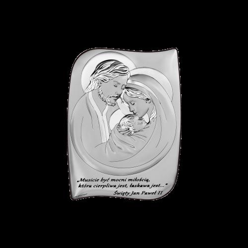 Obrazek srebrny Święta Rodzina Z NAPISEM 6466S/2