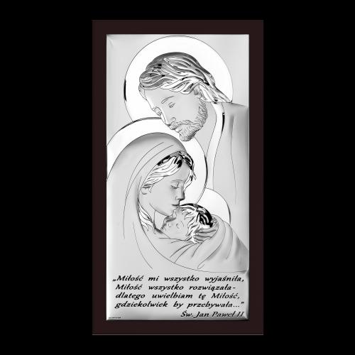 Obrazek srebrny Święta Rodzina Z NAPISEM 6380S/5WM